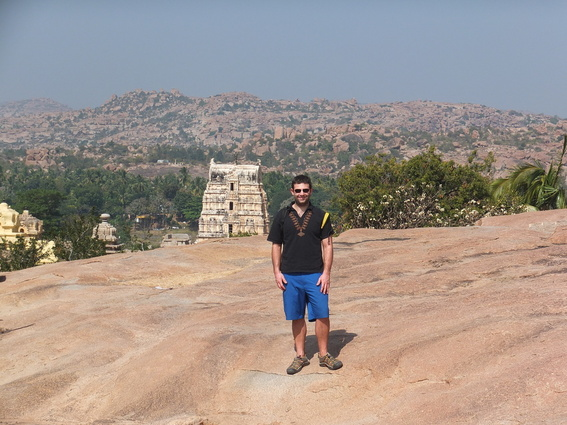 Ace in front of the Virupaksha Temple in Hampi