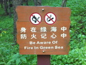 Be aware of fire in green sea