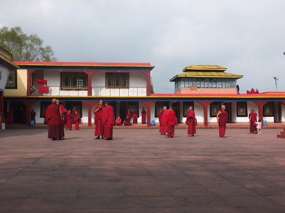 Monks in courtyard of Rumtek Monastery