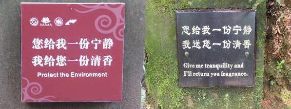 Typical Chinese nature signs/translations