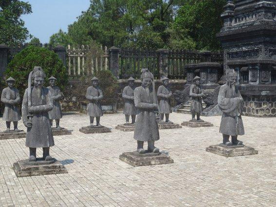 Mandarins at Lang Khai Dinh's tomb