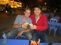 Me and chien enjoying out th beer