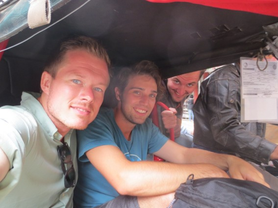 My Danish companions and I in a tricycle taxi