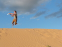 Me catching a disc off sand dune