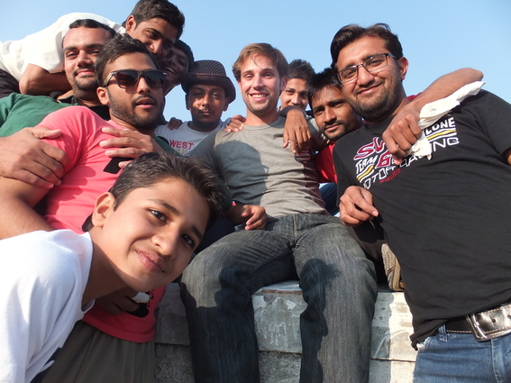 Me and a bunch of young Indian men on a roof in Ahmedabad