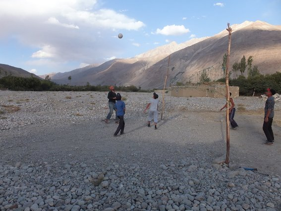 Me playing volleyball with the kids in Zong