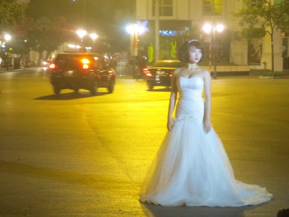 Mid-intersection night time wedding shoot