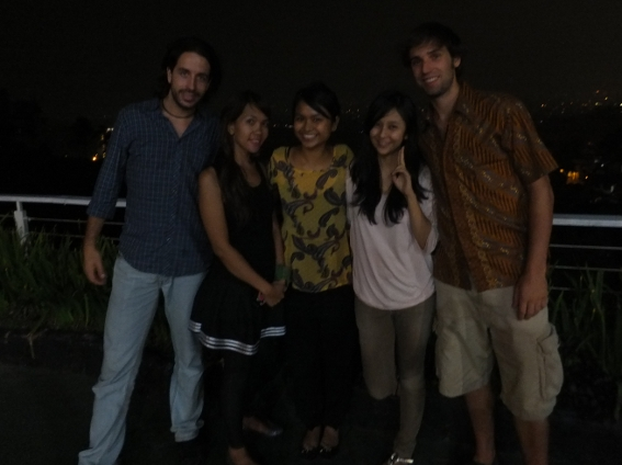 Miguel, Vina, Hanisah, Diana and Beau at Sierra, a restaurant overlooking Bandung