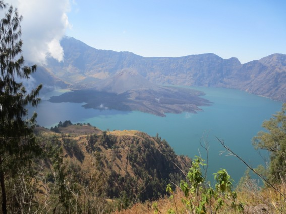 A view of Mt. Rinjani from a mountain pass