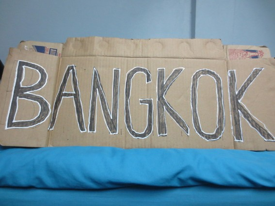 Sign I used to hitchhike to Bangkok