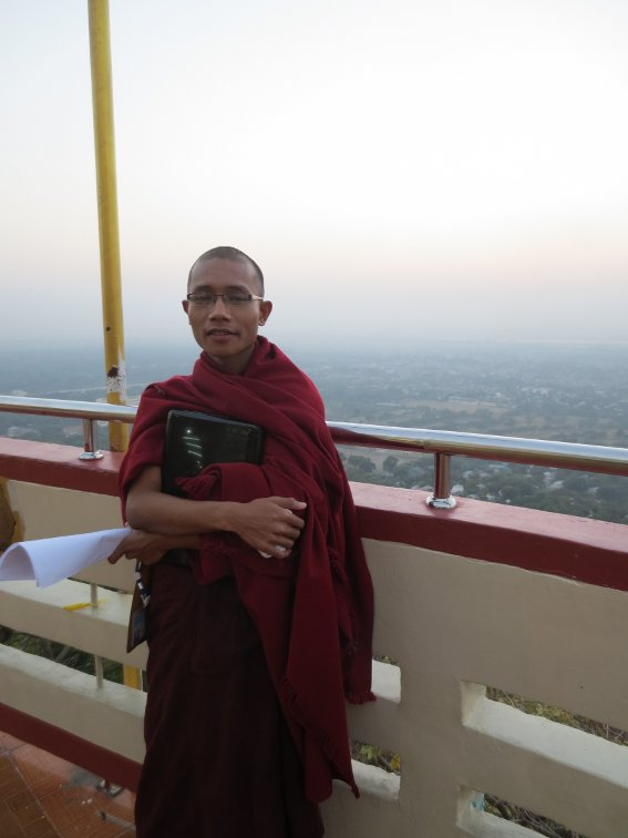My monk friend atop Mandalay Hill