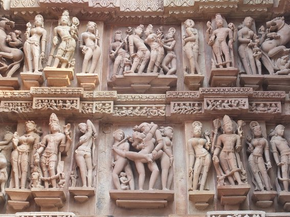Rows of carvings outside Khajuraho temple