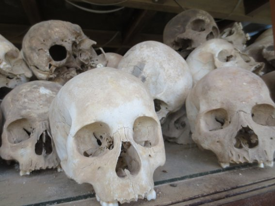 Human skulls from the monument at the killing fields in Cambodia