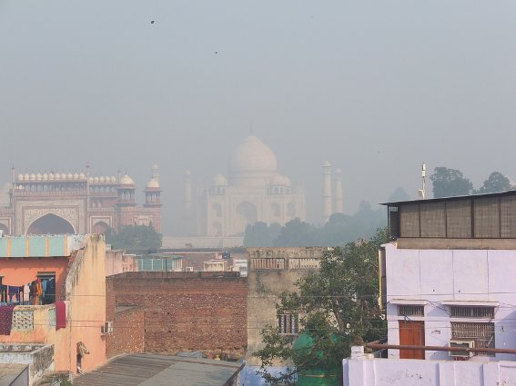 Taj Mahal as seen from the rooftop restaurant at my hotel