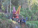 Tana toraja funeral procession into mountains