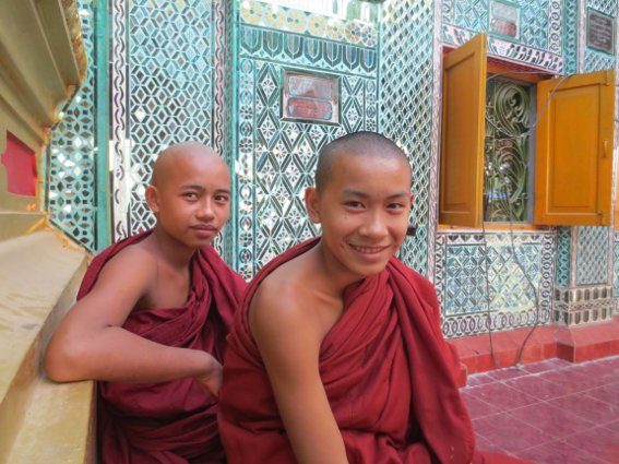 Two young monks atop Mandalay Hill