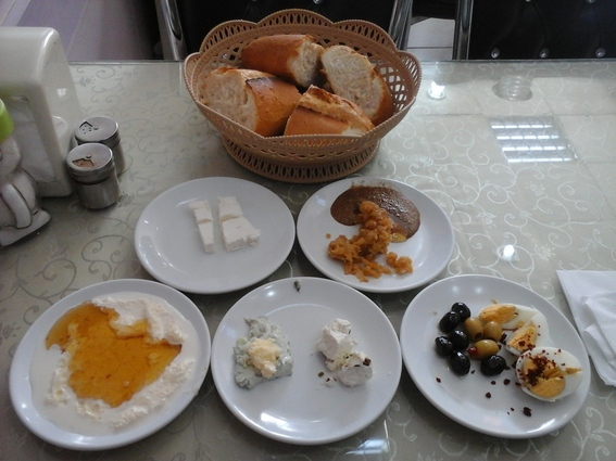 Standard Van breakfast, the local cheese and honey (lower left) was to die for